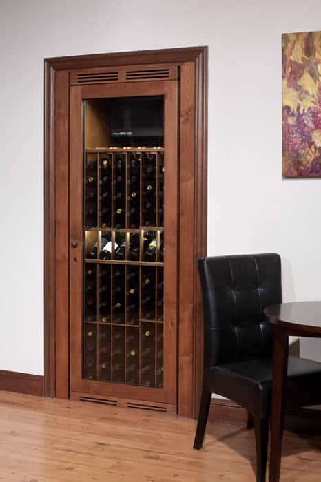 Vinotheque closet wine cabinet blue grouse wine cellar for Turn closet into wine cellar