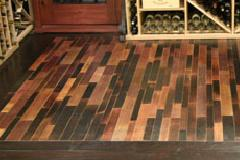 Flooring made from the inside of wine barrels.