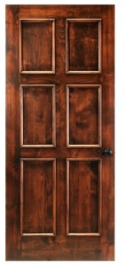 Six panel solid wood wine cellar door